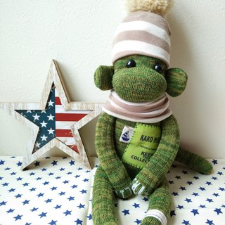 socks monkey/khaki green boy