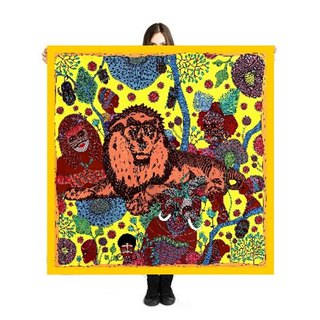 "Large Scarf/Sarong ""Mystic Africa"" 140x140cm Limited Edition 250 pieces"