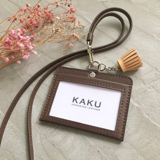 KAKU leather design customized identification card holder folder deep brown + light brown small tassel