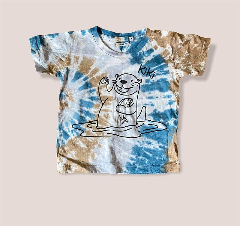 KiKi Otter棕色和藍色Tiedye兒童T卹