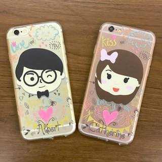 Exclusive Order - Personalized Cartoon Mini Face Maker iPhone Case phone transparent protective sleeve soft cover plus one pair of free word / can be customized