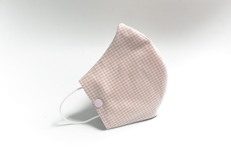 手作立體口罩套 / 放置濾材口罩 / 一般口罩 - 格子 粉紅