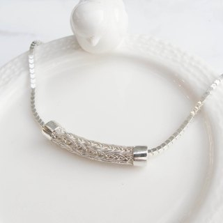 Big staff Taipa [handmade silver] sterling silver braided tube bracelet (girl models)