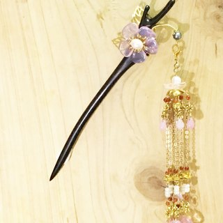 Tung Kee Ling set decoration - pull Tianhua} {Shining Czech glass pearl flower hairpin ebony multiple glass tassel Bob hair plug hairpin