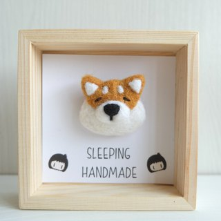 Goody Bag -Sleeping original hand shop [wood frame + brooch] ornaments / brooch