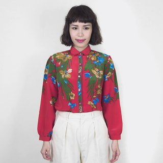 Red vintage classical flower chiffon vintage long sleeve shirt BM4011