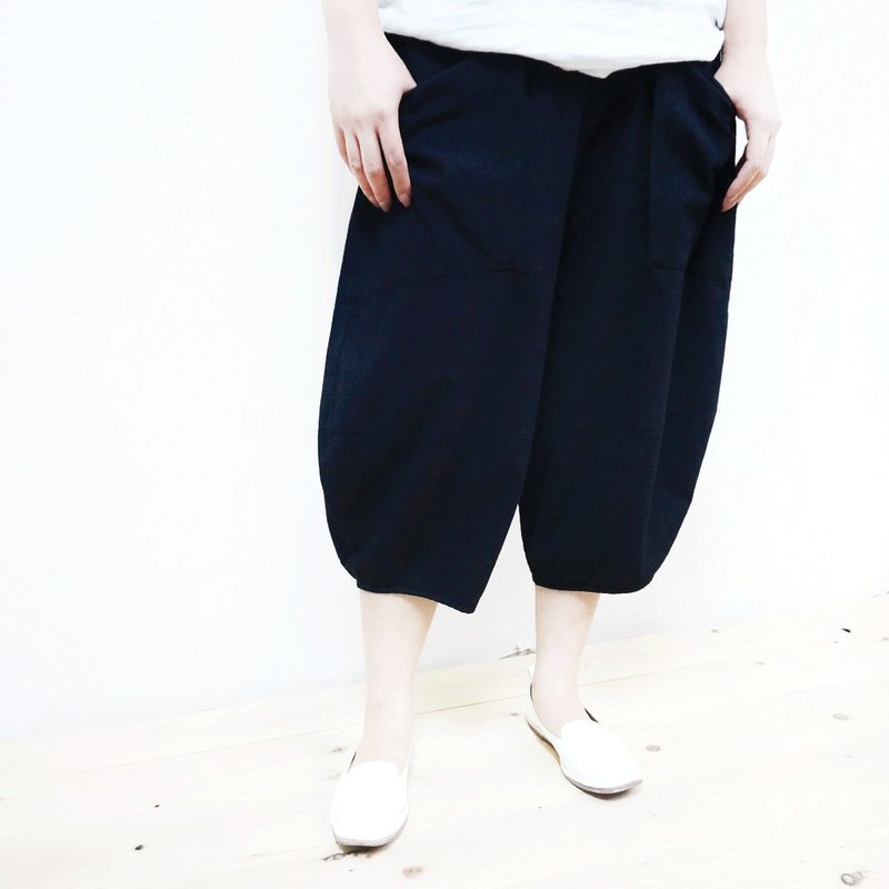 [MIT] Qi Wu eight 〇x cotton seven pants (black)
