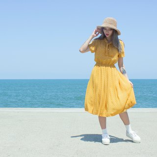 Yellow flower window short sleeve vintage dress