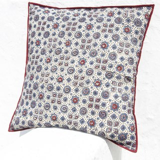 Christmas gift limited to a handmade woodcut Indian pillowcase / cotton pillowcase / printing pillowcase / hand-printed pillowcase - Moroccan blue forest flowers