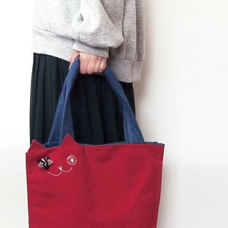 Casual dress ☆ Canvas cat Tote bag red (orders made)
