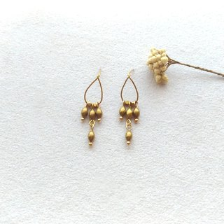 E026-婉1 - brass pin / clip earrings
