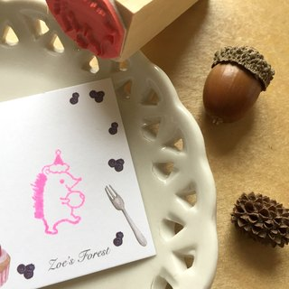 Zoe's Forest Christmas Hat Hedgehog Seal Rubber Stamp Christmas Exchange Gift
