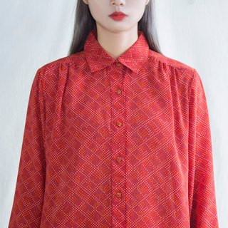 Red rhombic little old-fashioned long-sleeved shirt