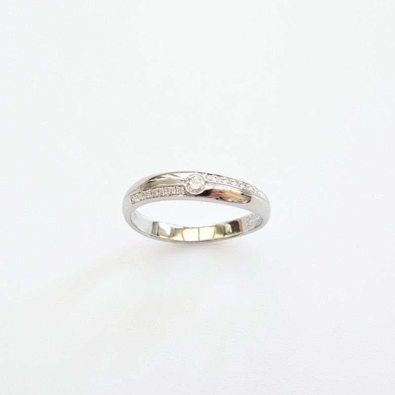 天然鑽石 18K 白金對戒 | 男戒-CR01 | 客製手工