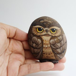 Owls stone painting,original art.