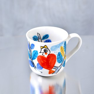 Red Heart Birds Mug Cup, Blue Leaves Speak in the Tree