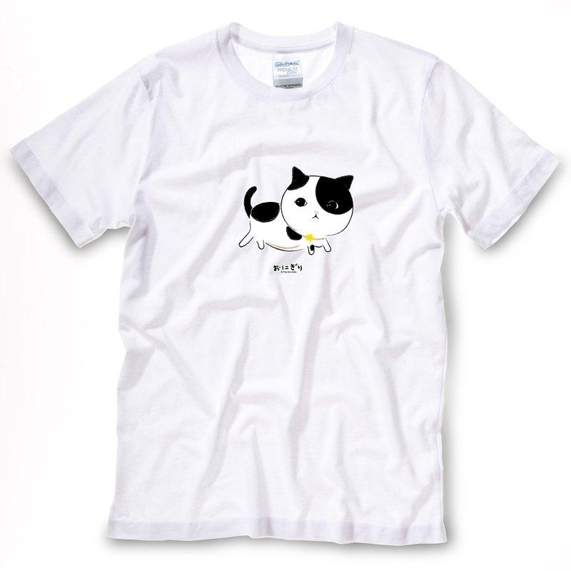 小飯糰 中性T恤 半半走路白色短T