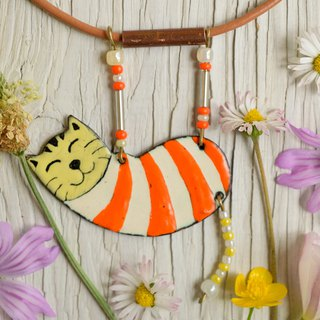 Enamel Cat, Enamel Necklace, Cat Necklace, Orange Cat, Orange, Boho Cat, Striped