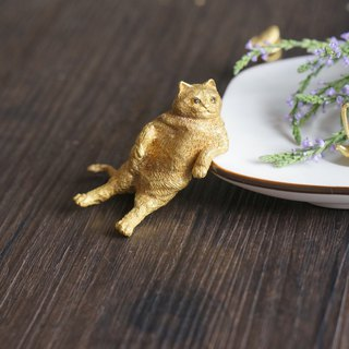 Handmade brass orange orange cat ornaments
