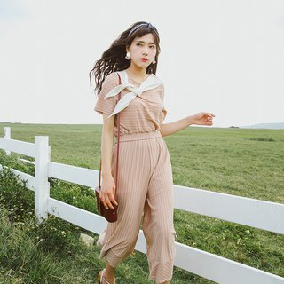 2018 summer women's new streamers round neck T-shirt striped wide-leg pants suit