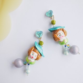 Clay earrings pool girls summer flashing earrings ear clips
