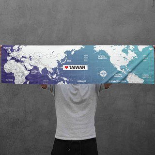 Make World map manufacturing sports towel (gradation blue)