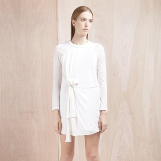 White stitching simple long-sleeved dress different materials - Hong Kong original brand Lapeewee