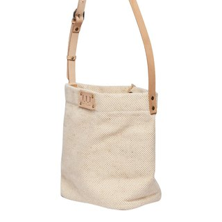 Washed Drum Bag / Street Bucket Bag / Cow Leather Sling / Beige