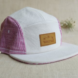 Tipple Sun Cap  (Off White/pink Traditional fabric)