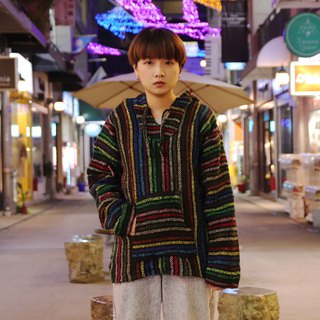 Tsubasa.Y vintage house Mexican wool cap Tee012 rainbow weaving stripes, Baja Hoodie