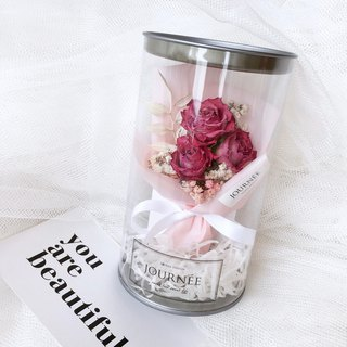 Journee limited dry rose flower pot with card / pink dry bouquet wedding small wish bottle