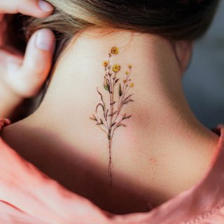 Little Minimal Flower Temporary Tattoo Stickers Yellow Red Small Lavender Rose