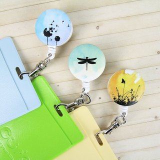 i good clip clip retractable ticket documents render series - Pu British public & dragonfly & Sunset (three) travel card ticket clip retractable pull ring