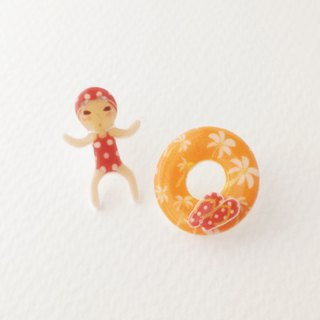 Small Q Series - Swim to the Red Original Illustration Swimsuit swim ring Flip-flops summer / pin earrings