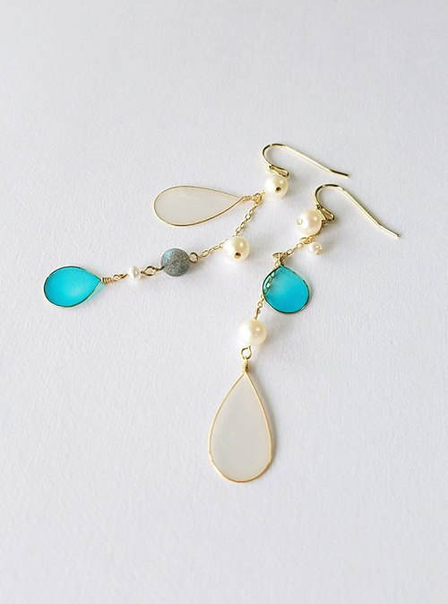 raindrops and freshwater pearl pierced earrings or clip-on earrings