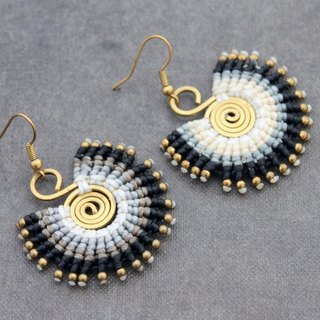 Macrame Earrings Drop Dangle Peacock Monotone