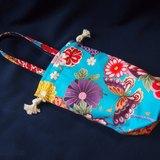 雙面束口小提袋--燙金蝴蝶X日式家紋