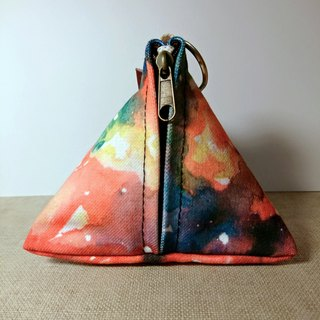 Triangle watercolor canvas purse - blooming color