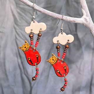 Enamel Earrings, Cat Earrings, Enamel Jewelry, Cat Jewelry, Cat Shaped Earrings, Cloud, Red Cat, Sky, For Cat Fans,