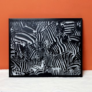 "【OPUS Metalart】Wall Mounted Painting - ""Wild Beauty Zebra"" shape (Black) Metal Frame / LOFT / Interior Design Painting Decoration / Furnishing Arrangement Painting / Simplicity Framed Painting / Installation Art Decor TP-ze08(B)"