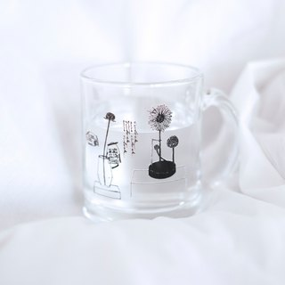 Scene clear glass mug