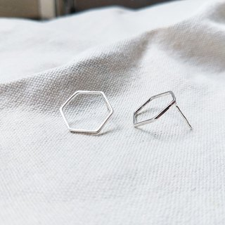 Neutral Simple Hexagon Earrings