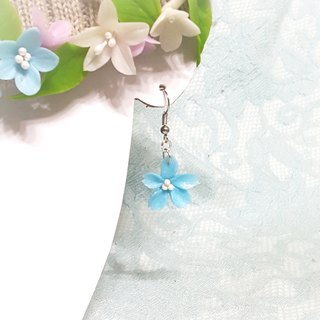 Blue cherry earrings / ear hook / ear clip