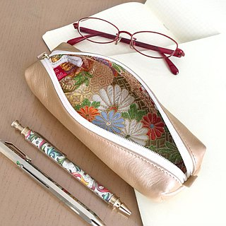 "Leather pen case with Japanese Traditional pattern, Kimono ""Brocade"""