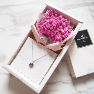 [Cloud Pattern Gift Set - Necklace] Deep Pink Dry Star Bouquet + Purple Round Stone Necklace