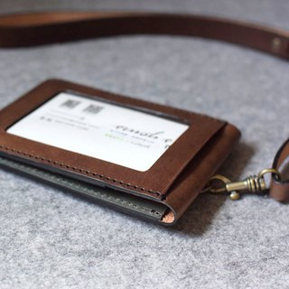 YOURS Straight Double Document Window (Built-In Brass) + Structure Neckband Dark Wood Leather + Green