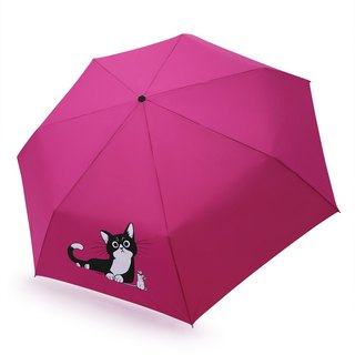 Safe not rebound windproof anti-UV automatic umbrella - pink cat