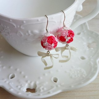 Red powder bridal bouquet sterling silver earrings / ear clip