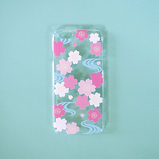 Clear iPhone case - Japanese Cherry Blossoms and Water Flow -