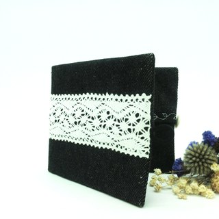 Handmade Lace Canvas Facial Tissue Double Inner Pouch Black